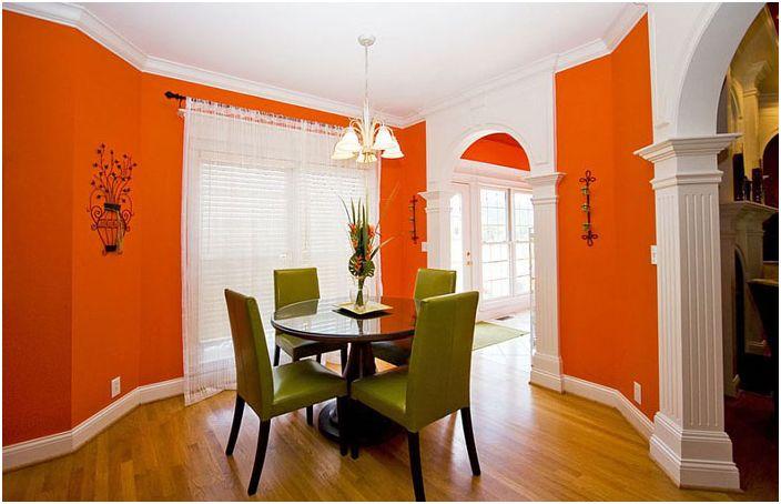 Фойерверки цвята: стилна трапезария в оранжеви тонове