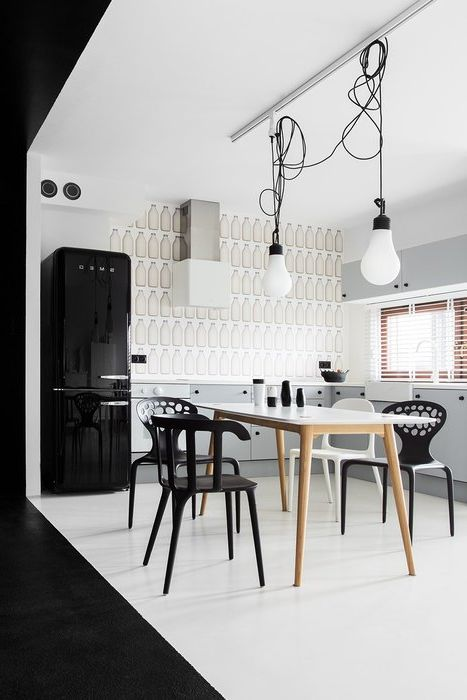 The black-and-white interior is necessary to provide different lighting scenarios