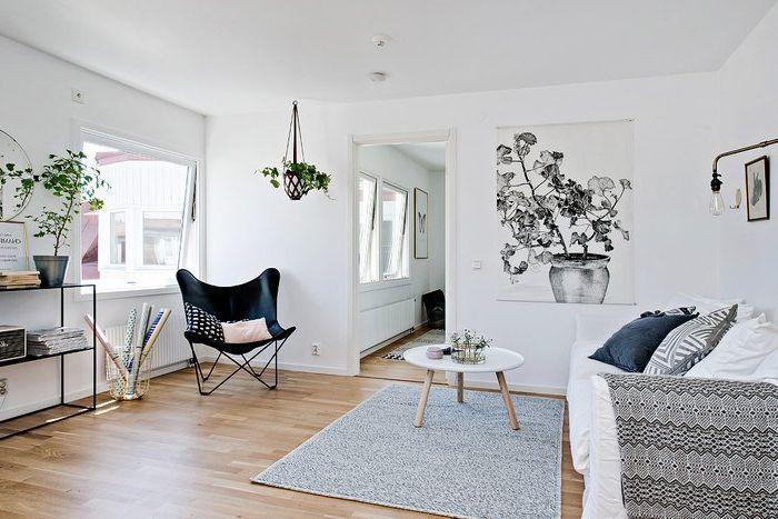 Тъй като бял интериор може да бъде вълнуващо: 40 квадратни метра в Швеция