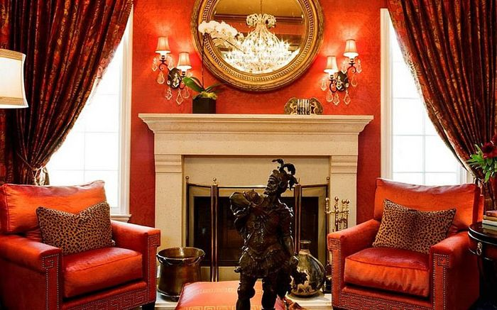 Luxury red in the living room by Tracy Murdock Allied