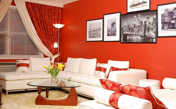 Small living room in red colors