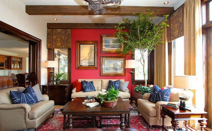 Living room with red and blue accents