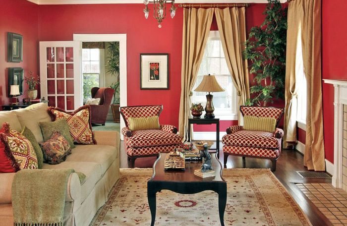 Red living on Dona Rosene Interiors