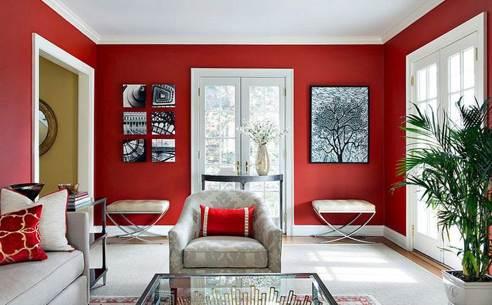 Red and white living room from Clean Design