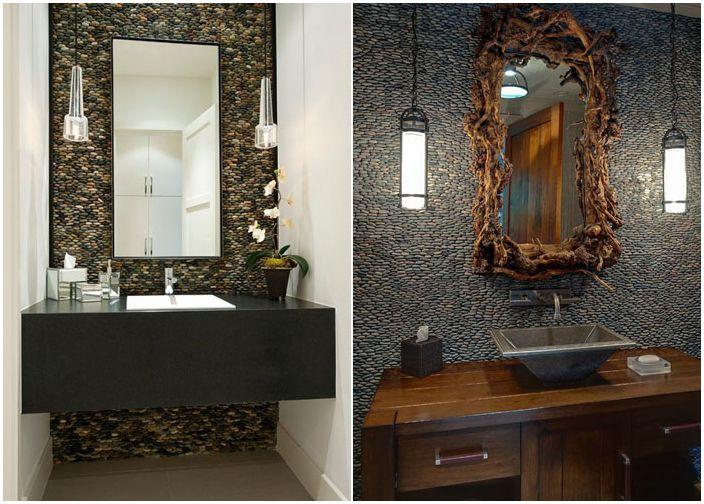 Естествените материали в интериора: оригиналния интериор в банята