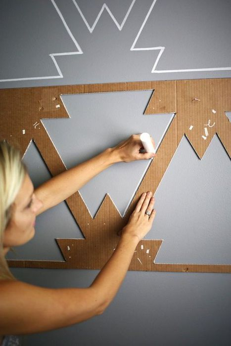 Method №17. Stencil for wall decor