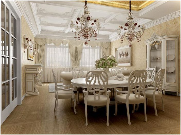 Bright room complemented the color of ivory and two chic chandeliers, allowing it to look more amazing.