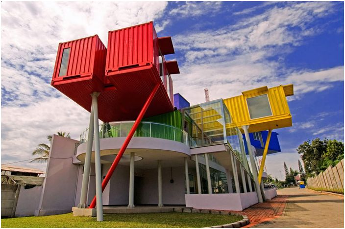 Colorful Library - a library of multi-colored containers.