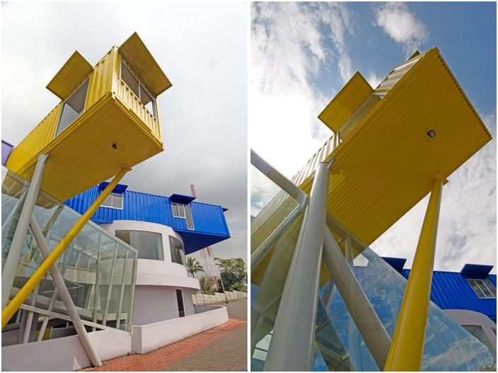 Colorful Library - library on steel stilts.