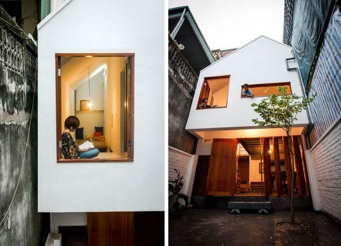 Уютен 2-етажна къща, построена през тесен проход между къщите