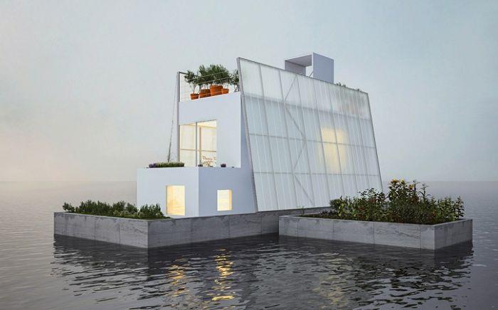 Плаваща къща, като спасение от сезонната наводнения