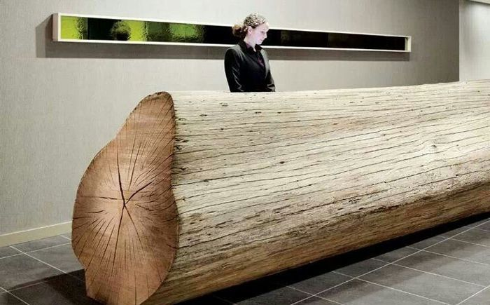 Reception desk of eucalyptus