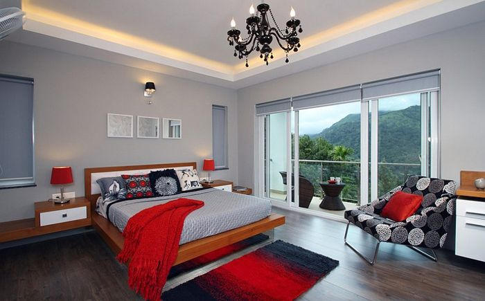 Bedroom Interior Red Picture Ideas With Black Shiny Bedroom Furniture