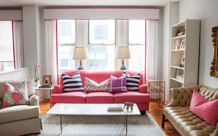 The bright pink in the living room by Caitlin Wilson