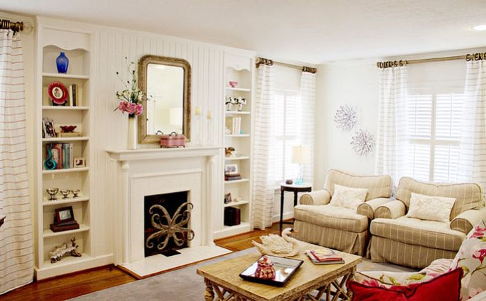 The living room in neutral colors