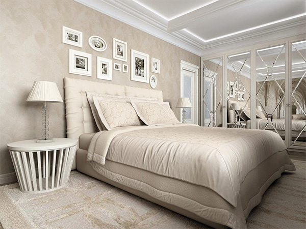master bedroom in beige color