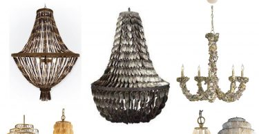 Remarkable chandelier made of shells for the house with his own hands