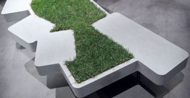 City bench with his lawn - winner of the exhibition Piba Marmi's Monocromo