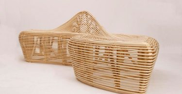 Eco-friendly bench rattan from Alvin Tjitrowirjo - accented detail in a garden landscape