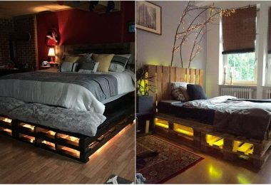 Beds of pallets with light: original and practical solution for cottages and apartments