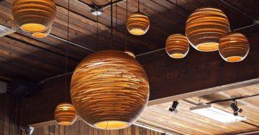 Round pendant lamps handmade cardboard