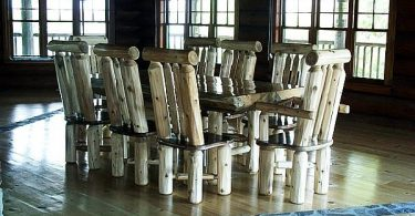 Furniture made of natural wood for garden or country residence