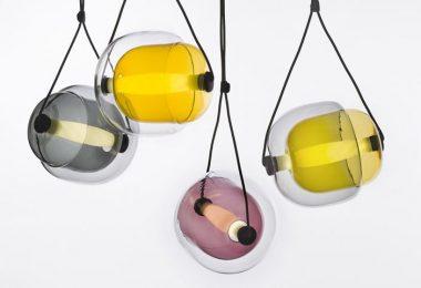 Original hengende lampe med glass lampeskjerm