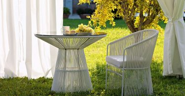 Garden furniture tables and chairs by Warren Platner