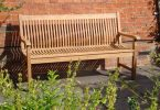 Bench made of wood for decorative yard decorations