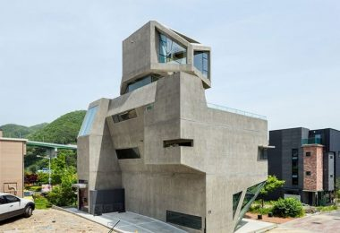 Complex Geometry a house with a brutal concrete facade