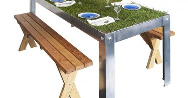 A table with grass on top