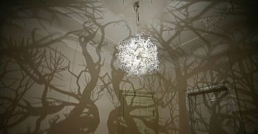Intriguing lamp, casting a shadow on the wall branched