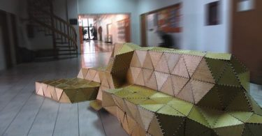 Comfortable and original: a wooden bench Origami Forum by ModelArt Studio designers