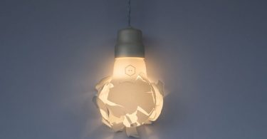 Unique lamp in the form of a broken light bulb