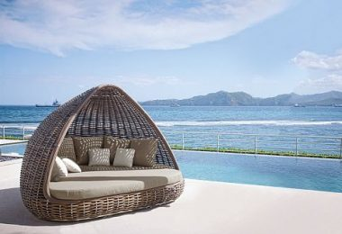 Wonderful wicker pergola and deck chairs on the company's Skyline Design - sunbathe comfortably?