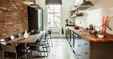 Kjøkken i loft stil: interiør og kjøkken design i industriell stil