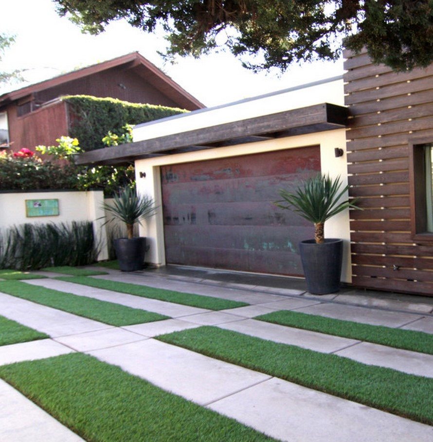 Къща с гараж: стилен и модерен дизайн, външна декорация на снимката