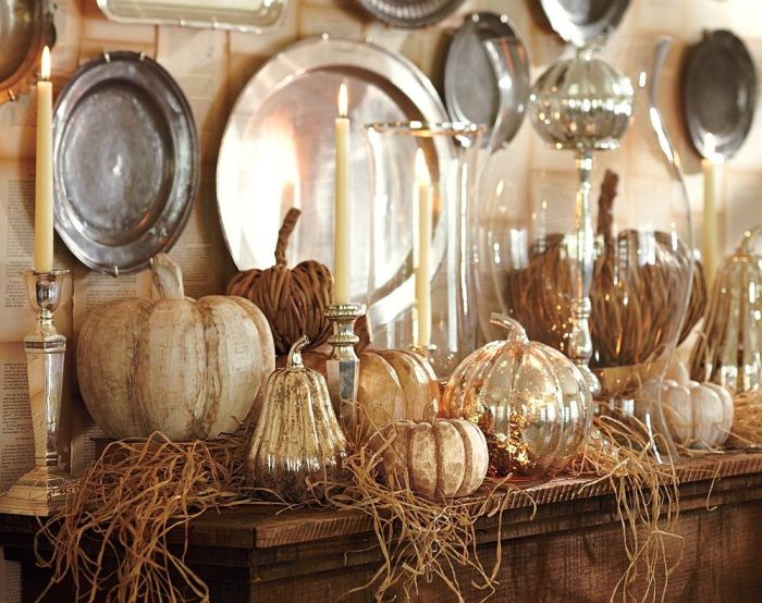 Interior design with autumn decoration for the kitchen.