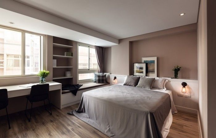 The bedroom is integral with the rest of the living space.