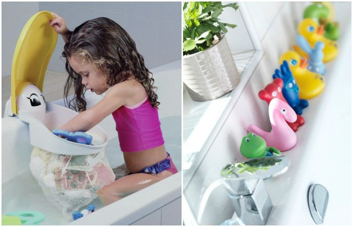 Bathing with toys of hygiene becomes a pleasure for the child.
