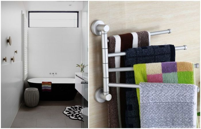 Hooks for towels at different heights - for the convenience of the family members of different heights.