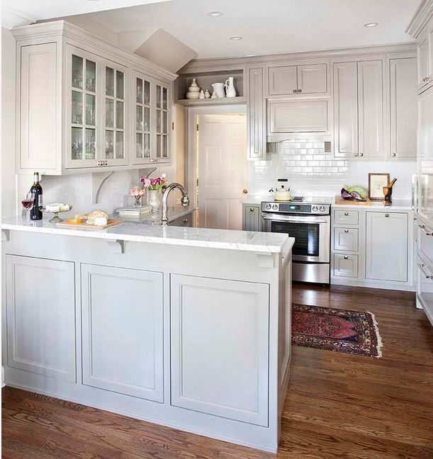 White interior small kitchen is replete with glitter.