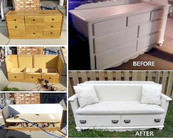 The transformation of the wooden chest in a small sofa.