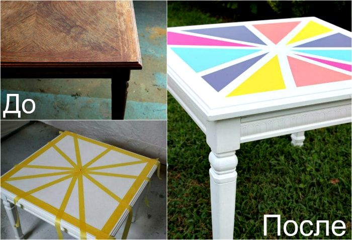 Bright transformation of a wooden table.