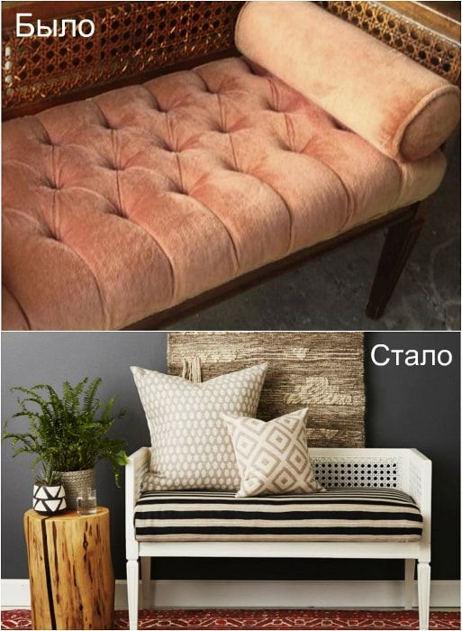 Transformation of the old bench in the charming couch.