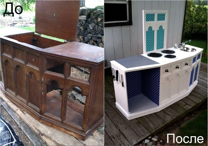 The transformation of the old chest in the summer kitchen.