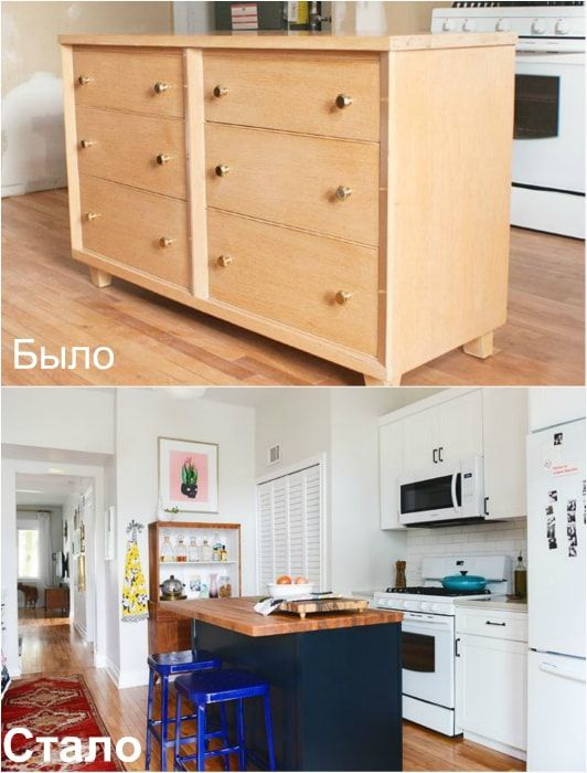 Transformation of the chest in a kitchen island.