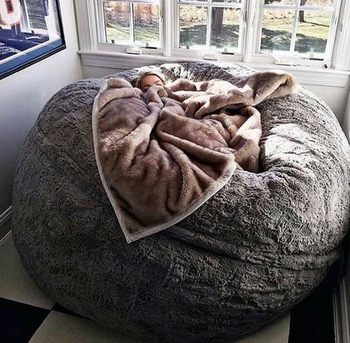 The bed in the form of a ball.