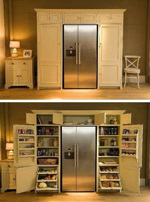 Refrigerator, combined with pantry.