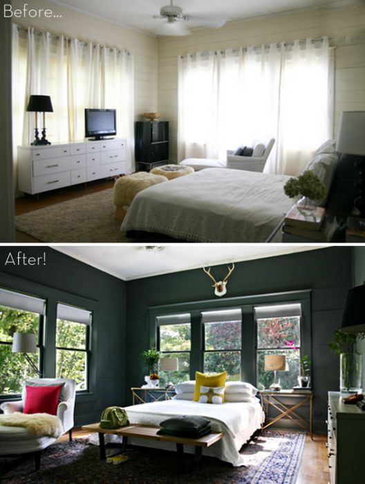The conversion of light into space rich dark bedroom.
